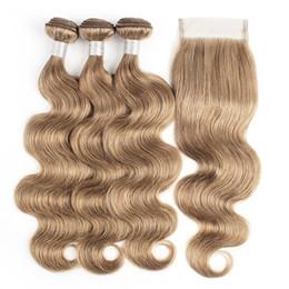 Brésiliens vague de corps Bundles de cheveux avec fermeture Couleur # 8 Blond cendré 4 faisceaux avec fermeture de dentelle 4x4 Remy Extensions de cheveux ? partir de fabricateur