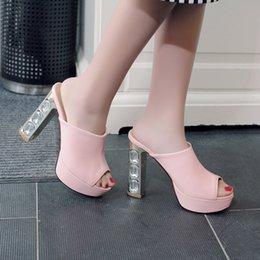 Donne coreane sandalo casual online-2019 scarpe sandali nuovi estate femminile piattaforma alta tallone spesso con i pattini delle donne coreane dei sandali casuali con i tacchi alti signore