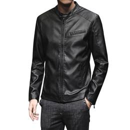 2020 casacos finos do lazer dos homens s 2019 nova primavera e Moda Personalidade Locomotive PU Leather Jacket Men Outono Masculino Lazer Fina Seção de Slim Men jaqueta casaco desconto casacos finos do lazer dos homens s