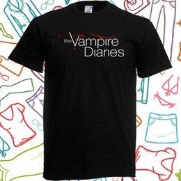 camicia nera vampiro Sconti Il logo TV Vampire Diaries serie degli uomini di colore T-shirt taglia S alla 3XL