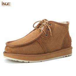 Vera pelle di pecora foderato stivali di pelle online-Moda Beckham lace-up degli uomini veri neve scarpe stivali invernali vera pelle di pecora natura della caviglia della pelliccia foderata stivaletti gratis
