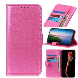 Rosa lg teléfonos online-Funda Rosa Glitter Wallet para LG K50 K40 K30 K9 K10 K11 plus V50 ThinQ 5G Funda para teléfono para LG G7 fit ONE X5 V40 G8 G8S ThinQ stylo 5 Q60