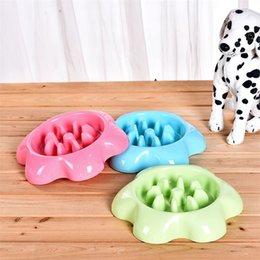slow feeder bowl Promo Codes - Pet Anti Choking Slow Eating Bowl Plastic Pure Color Dog Puppy Durable Feeder Supplies New Style 4 6jm Ww