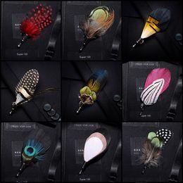 scatole regalo per spilla Sconti JEMYGINS Spilla 100% piuma spilla foglia uomo e donna gioielli papillon set confezione regalo spilla pavone di alta qualità spettacolo nuziale festa