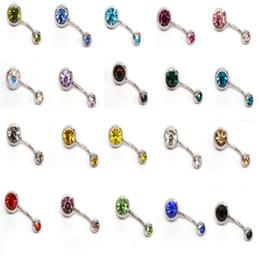 2019 anneaux de nombril en plastique Nouveau 316L acier chirurgical anneaux de nombril en cristal strass nombril bouton barre de nombril anneau bijoux de corps piercing 200 PCS / LOT cloche bouton anneaux C058