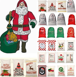 2019 doni santa Più nuovo Natale grande tela monogrammabile Babbo Natale Drawstring Bag con renne, sacchetti di Natale monogrammi Regali Sacchi Borse 4549 doni santa economici