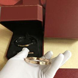 2019 brazaletes de latón macizo New Love Bracelets 316L pulseras de tornillo de acero inoxidable con destornillador nunca pierda Love Bracelet con tapa Caja original Caja de regalo