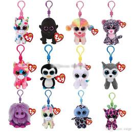 Ojos de gorro online-Ty Beanie Boos ojos grandes llavero felpa muñeca de juguete de los pescados del bebé de la tortuga de la jirafa llavero muñeca de la felpa animal de juguete de regalo niño 4
