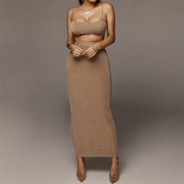 Donne top spaghetti online-2019 Nuove donne di arrivo Set Slim Crop Top e gonna due pezzi Set Backless Empire Dress Female Party Set