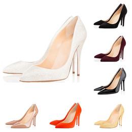 Le calzature della pelle di pecora all'ingrosso online-Nuove donne all'ingrosso pelle di pecora nera pelle di vernice nuda scarpe da donna punta corta, moda rosso fondo tacchi alti scarpe per le donne da sposa