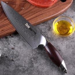 Cuchillo de cocinero de hoja de damasco online-Damasco Cuchillo de los cocineros japoneses 67 Las capas de acero VG10 cuchillos de cocina Profesional pata ancha sándalo manija de lujo Gyuto NUEVO