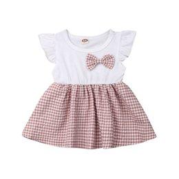 algodão xadrez sundress Desconto Moda Criança Bebê recém-nascido babadores Meninas Cotton Plaid Vestidos Princesa vestido Tutu roupas de verão Vestido de Verão
