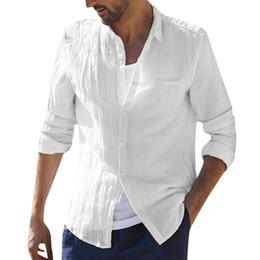 2019 roupas de linho branco preto Vantage camisas de linho de algodão de manga longa dos homens retro solto branco preto verão encabeça roupas masculinas casuais camisa havaiana streetwear 2 # desconto roupas de linho branco preto