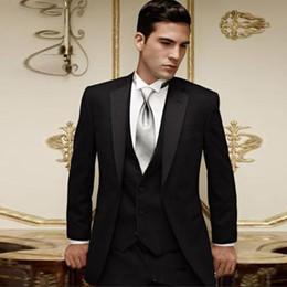 Venta caliente Trajes Conjuntos Dos botones Negro Novio Esmoquin Muesca Solapa Mejor hombre Groomsman Hombres Trajes de boda Novio (Chaqueta + Pantalones + Corbata + Chaleco) desde fabricantes