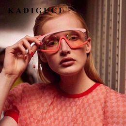 Gafas de sol rojas de gran tamaño online-KADIGUCI New Cat Eye Goggles Gafas de sol Hombres Mujeres Brand Designer Fashion One Piece Red Blue Colorful Oversized Sunglasses Shades UV400 K348