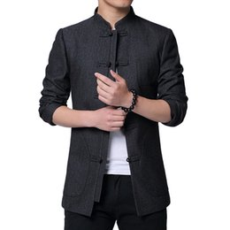 cotton tang jacket Coupons - High Quality Chinese Tunic Suit 2019 Spring New Fashion Tang Jacket Men Cotton Comfortable Fabric Mens Jackets and Coats