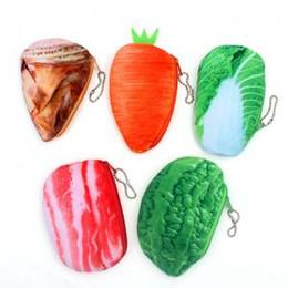 Paquete de verduras online-Simulaciones Verduras Alimentos Bolsas de monedas Caliente Divertido Monedero lindo Multicolor Compras Tienda de comestibles Forma Monedero Paquete Paquete de almacenamiento WWA96