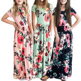 Largos vestidos de niña de flores impresas online-Las niñas de manga corta vestido floral vestido largo flor impreso niñas moda faldas verano niños ropa de playa ropa