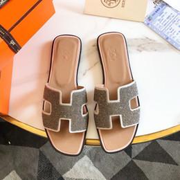 pantofole verde menta Sconti Sandali delle donne del progettista dei sandali del 2019 pantofole di ampia sandali piani di modo di estate spiaggia con il sacchetto di polvere formato 35-42