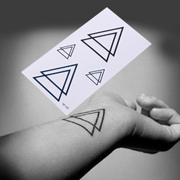 Dreieck-tätowierung online-1PCS Körper-Arm-Männer Gefälschte Tatoos wasserdicht temporäre Aufkleber Geometric Planet Quallen Tattoo Schwarzes Dreieck Tattoos