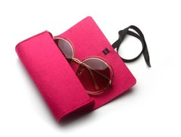 Caixa dos vidros de feltro / caixa dos óculos de sol / caixa caixa dos Eyewear / espetáculos, 5 cores na opção de Fornecedores de cílios espessos naturais