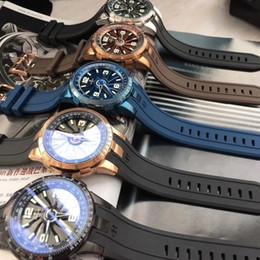 relógios de pulso Desconto 44mm turbina automática Poker dial único legal homens relógio de pulso mecânico de alta qualidade pulseira de borracha PERRELET