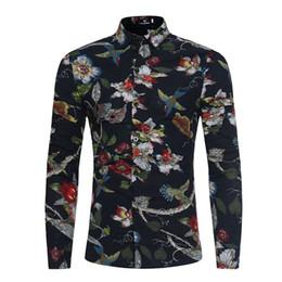 Novas camisas da flor mens on-line-Mens Retro Flor Camisas New Casual Respirável Camisa de Moda Padrão Geométrico Dos Homens Da Marca de Impressão Social Mangas Compridas Camisa