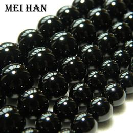 deslizador pulsera de cuentas espaciadoras Rebajas Freeshipping Meihan 4 mm 6 mm 8 mm 10 mm 12 mm de ágata negro liso flojo de los granos redondos para la elaboración de joyas de diseño o de bricolaje