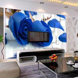 2020 обои для рабочего стола Пользовательский Любой Размер 3D обои Blue Rose Reflection Box 3D Гостиная Спальня фон Стен обои скидка обои для рабочего стола
