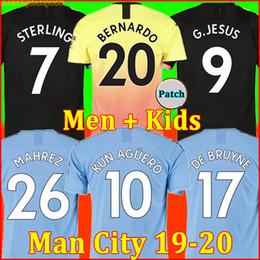 jersey para niños ronaldo Rebajas 19 20 camiseta de fútbol Manchester City HOMBRE 2019 2020 G. JESÚS MAHREZ DE BRUYNE KUN AGUERO chandal de fútbol MENDY MAN uniformes hombres + kit de niños de la soccer jersey