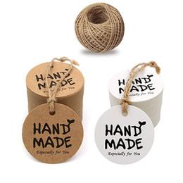 """100pcs Brown / white Round Tag """"HANDMADE"""" per la decorazione della festa nuziale Tag Packaging Hang Paper Tags da maniche in metallo fornitori"""