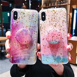 folienkoffer Rabatt Epoxy Starry Sky Phone Cases Goldfolie weiche rückseitige Abdeckung Schutz mit Telefon-Halter für iPhone 11 Pro Max X XR Xs Max 7 7plus 8 8plus 6s Plus