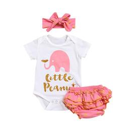 Pantalon d'éléphant en Ligne-3pcs vente chaude Toddler combinaison combinaison éléphant imprimer bébé fille rose barboteuses et pantalons et bandeaux