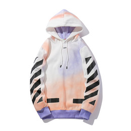 spray coating Promo Codes - Rendering Stripe Sanitary Clothes Autumn Loose Spray-painted Hat Coat with Furry Female Lovers Long Sleeve Hoodie Fashion Hoodies Printed