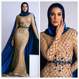 vestidos de festa sexy Desconto Aso Ebi 2019 Árabe Ouro Sexy Sparkly Evening Dressses Sereia Lantejoulas Cristais frisados Vestidos de baile Charmoso Formal Vestidos de festa de concurso