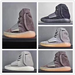горячие продажи 750 кроссовки светло-серый коричневый тройной черный серый  Kanye West кожаные сапоги мужские женские спортивные баскетбол обувь  тренеры ... 1ca34bfb70f2a