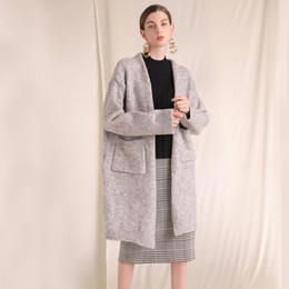 471619d45d5c Terno-vestido de Inverno Novo Padrão Fácil Confortável Casulo de Lã Macia de  Mistura de Bolso Camisola mulheres Cardigan Casaco Solto Mulher befree ...