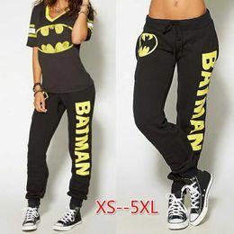 Batman camisa mujer online-Batman Ladies Disfraces de Cosplay Camiseta Top Joggers Pantalones Sport Gym Pants Chándal para Mujer Whosesale
