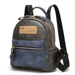 2019 bolsa de mochila de patchwork Linda bolsa de viagem mulheres casual mochila pu bolsa de couro mochila patchwork hit cor senhoras bagpack bolsa de mochila de patchwork barato
