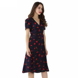 Robe à motifs croisés en Ligne-Vintage col en V motif floral midi robe cache-cœur robe cerise noeud papillon design croisé à manches courtes robe rétro Mujer