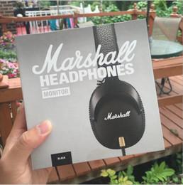 Musica di ascolto wireless online-Hot Nuovo MARSHALL monitor Cuffie Black Head-mounted auricolare bluetooth professionale musica rock auricolare ascolto senza fili auto cuffie