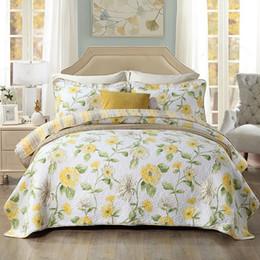 2019 amerikanische steppdecken 100% Baumwolle Quilten Quilts Bettdecke American Floral Baumwolle Bettdecke Stickerei gelb PRINT Tagesdecke 3er Set König günstig amerikanische steppdecken