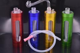 plataforma de aluminio Rebajas Venta al por mayor LED de alta calidad de 12 cm de aluminio y metal con plataforma plástica bong mini mano quemador de aceite plataforma bong tubo con recipiente de vidrio
