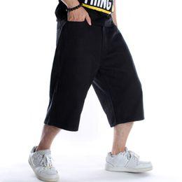 Hip hop baggy jeans kurz online-Hip Hop Schwarz Skateboard Shorts Herren Denim Cargo Shorts Baggy Skateboard Short Jeans Herren Lose Streetwear Jeans X9135