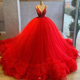 multi tier dress Coupons - Amazing Red Ball Gown Prom Dresses Ruched Puffy Tier Tulle Skirt Appliques Spaghetti Strap Sweet 15 Vestidos de novia Evening Gowns