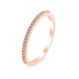 oro in miniatura Sconti Kristi Tina Fedi nuziali da donna, gioielli in oro rosa con zirconi in miniatura semplici e classici