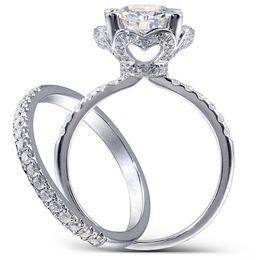 Centro 2.5 Carati F Incolore taglio rotondo Moissanite Fidanzamento Fede nuziale Set Lab Diamante Accenti Solid 14k Donna 2 Pezzi Y19061203 da