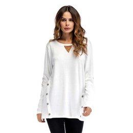 Las mujeres de color sólido con paneles de la camiseta de las mujeres de cuello redondo de gran tamaño de doble fila botón del collage de la camiseta de las mujeres de manga larga camisetas casuales desde fabricantes