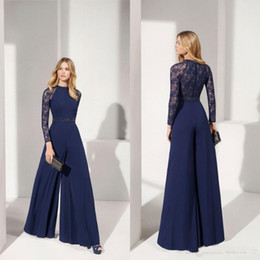 Gioielli fatti a mano online-2020 Navy Madre della Sposa Abiti Dress Jewel Collo Appliqued merletto manica lunga Invitato a un matrimonio Una linea Evening Gowns