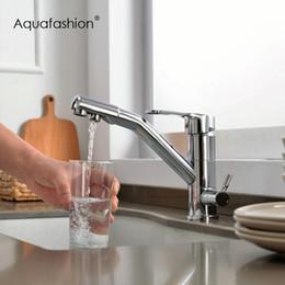 maniglie del rubinetto della gru Sconti Nuovo filtro arrivo rubinetti della cucina a doppio manico calda e fredda rubinetto con filtro potabile acqua per Gru